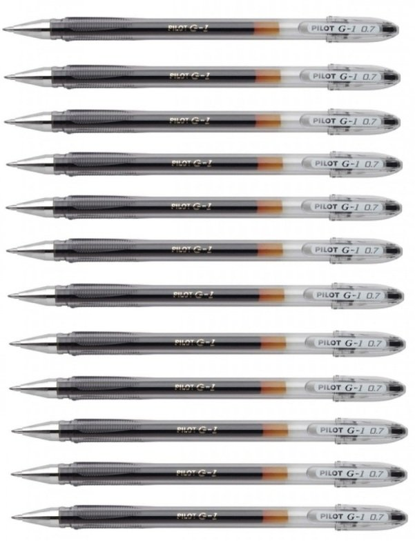 Pilot G1 Black Gel Ink  Rollerball Pen (Pack of 12)