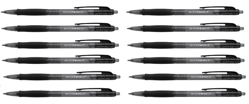 Q-Connect Retractable Ballpoint Black Pen (Pack of 10)