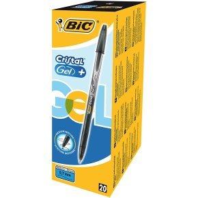 Bic Cristal V2 Gel Black Pen 0.8mm (Pack of 20)