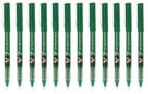Pilot V7 Hi-Tecpoint Liquid Ink Pen Fine Green (12 Pack)