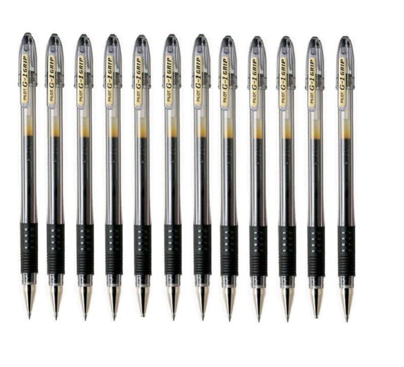 Pilot G1 Grip Gel Ink Rollerball Pen - Black (Pack of 12)