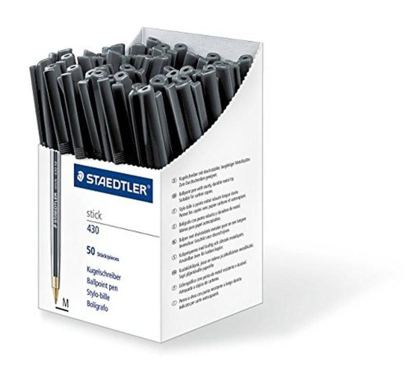 Staedtler Stick Medium Black Ballpoint Pen (50 Pack)