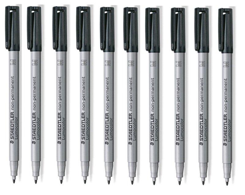 Staedtler Lumocolor Med Tip Pen - Black (10 Pack)