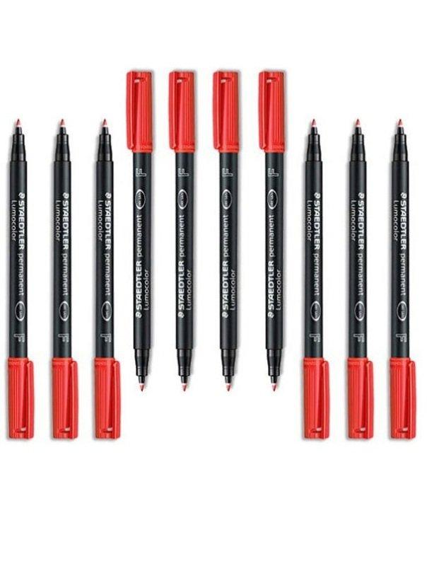 Staedtler Lumocolor F Permanent OHP Red Pen (10 Pack)