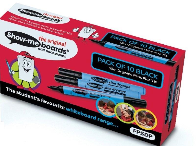 Show-me Fine Point Slim Barrel Drywipe Marker Black Pk10