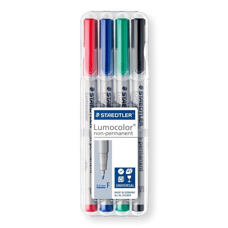 Staedtler Lumocolor Fine Tip Pen - Assorted (4 Pack)