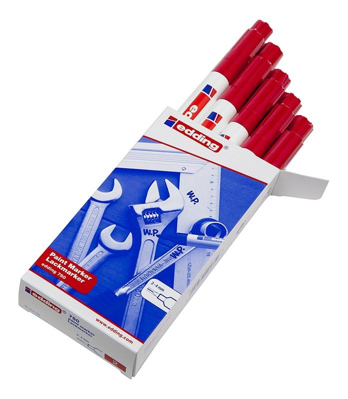 Image of Edding 750 Opaque Red Bullet Tip Paint Marker (Pack of 10) 750-002