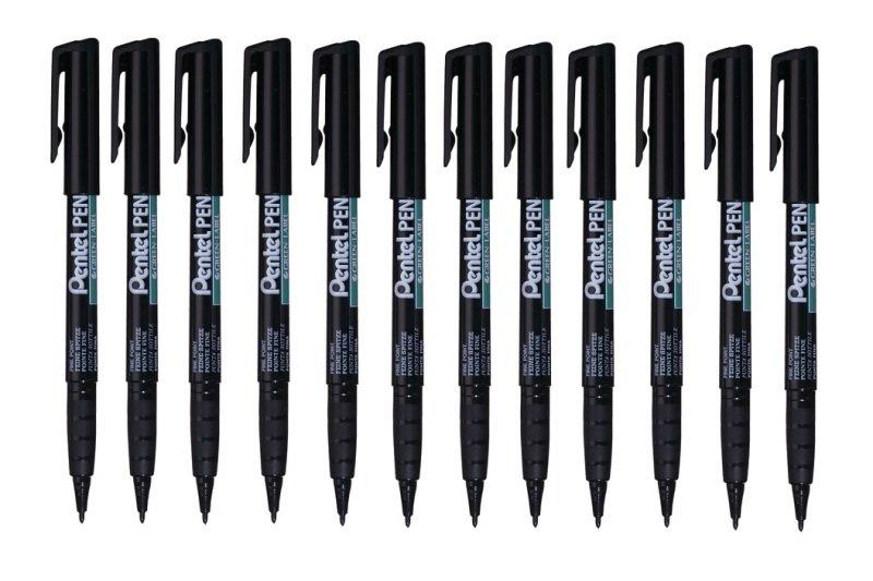 Pentel Perm Marker Fine Black Nms50-a - 12 Pack