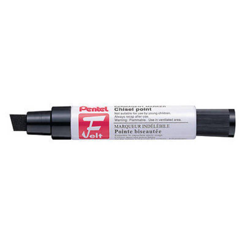 Pentel Marker Chisel Tip Black M180/6-a - 6 Pack