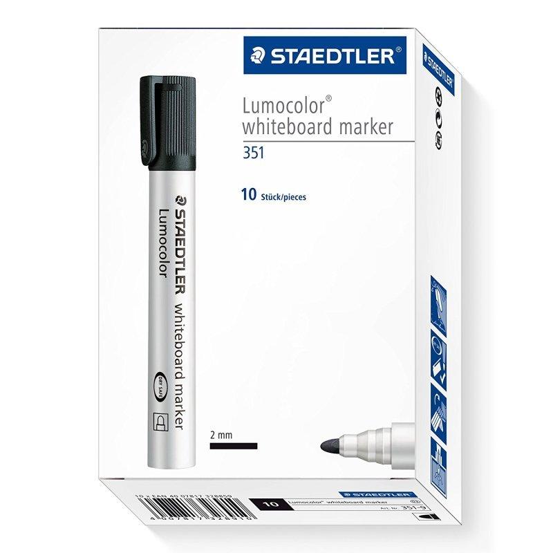 Staedtler Lumocolor 351 Drywipe Black (Pack of 10)