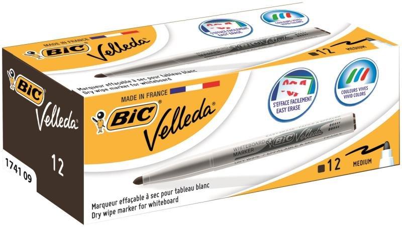 Bic Velleda Drywipe Markers 1741 Black - 12 Pack