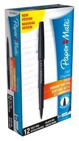 Papermate Black Flair Fibre Tip (Pack of 12)