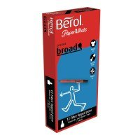 Berol Black Water-Based Colourbroad Pens (12 Pack)