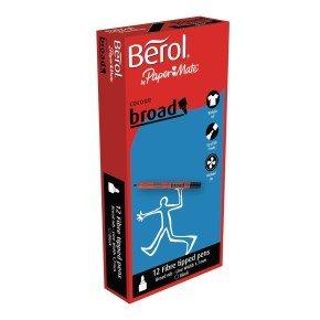 Berol Black Water-Based Colourbroad Pens (12 Pack)