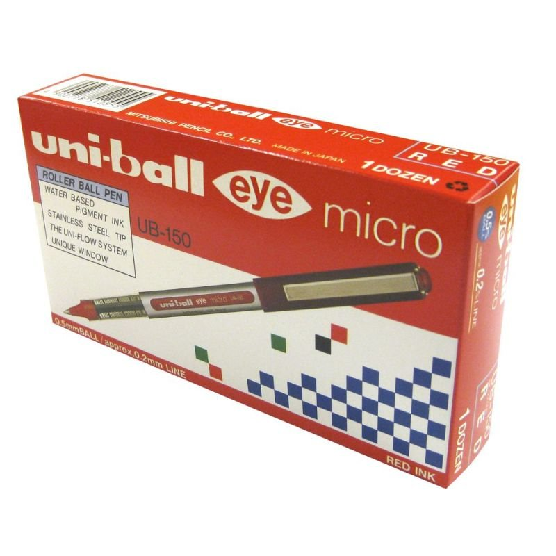 Uni-Ball Eye Micro Rollerball Pen - Red (12 Pack)