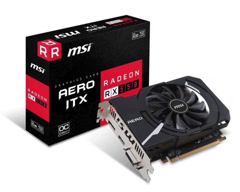 MSI RADEON RX 550 AERO OC ITX 2GB GDDR5 Graphics Card