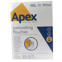 Apex A4 Medium Duty Laminating Pouches 250 Micron Clear (Pack of 100)