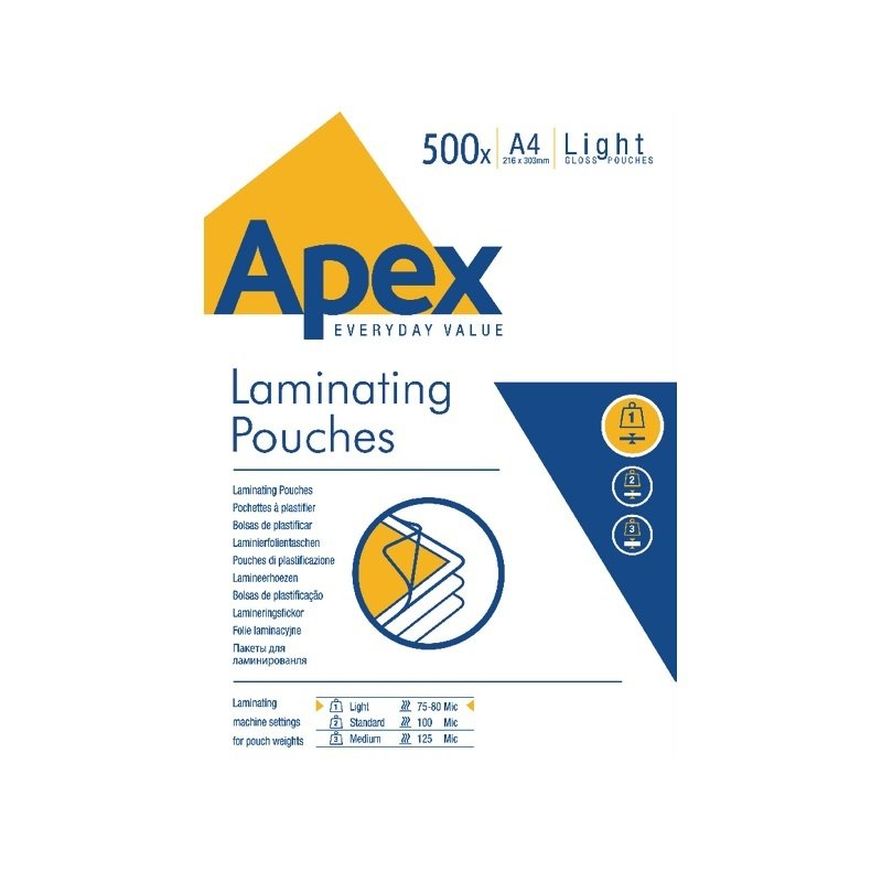 Fellowes Apex A4 Laminating Pouch Light Duty (500 Pack)