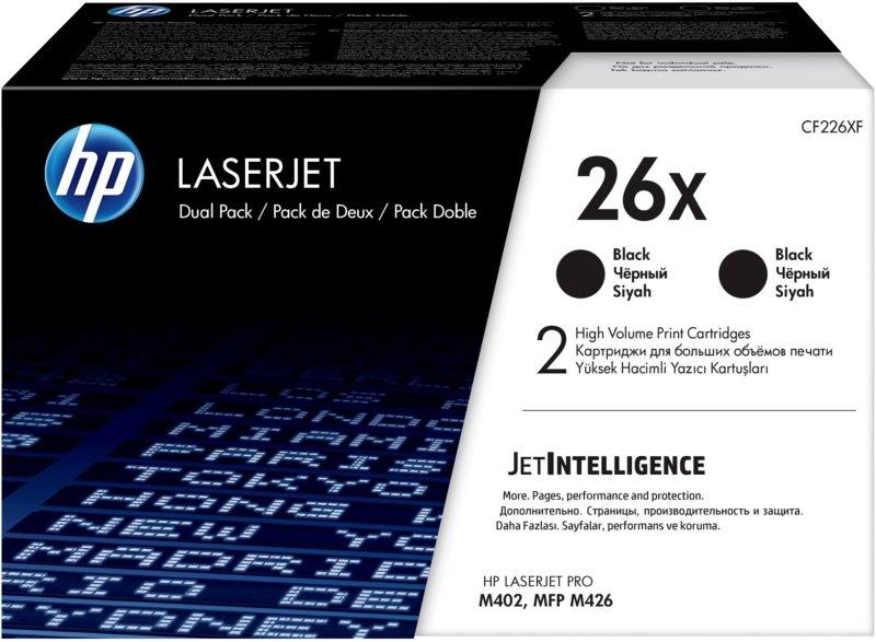 HP 26X High Yield Original Black Toner Cartridge - Dual Pack - CF226XD