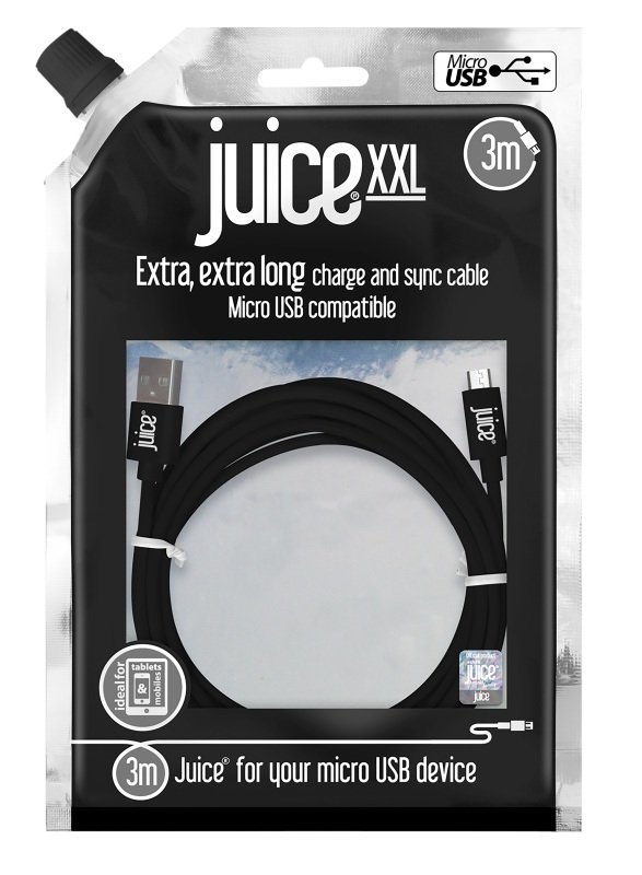 Juice Micro USB to USB XXL Cable - Black - 3M