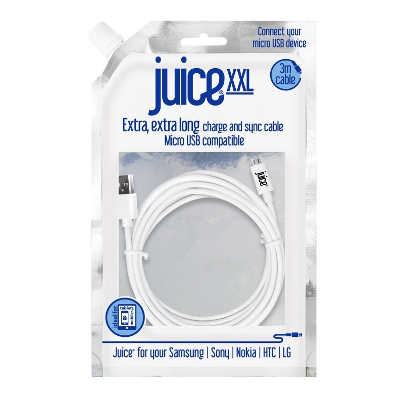 Juice Micro USB to USB XXL Cable - White - 3M