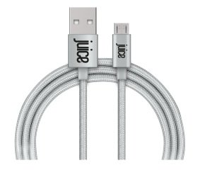 Juice Micro USB Braided Cable - Metallic Silver 1.5M