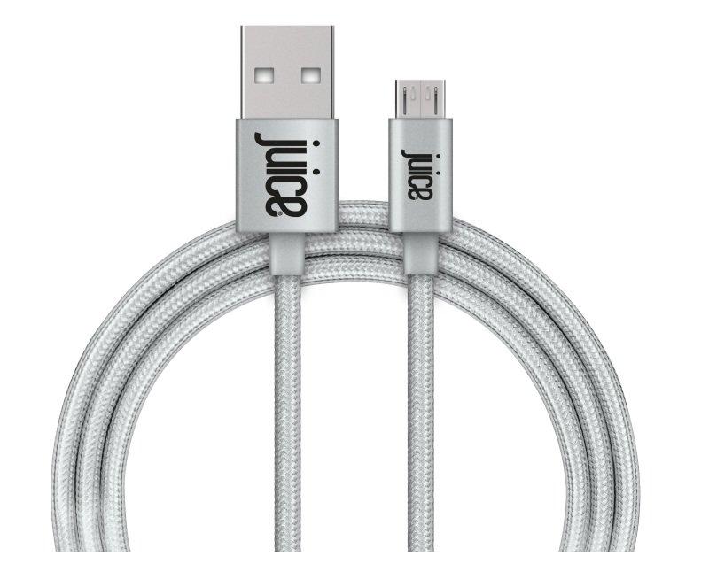 Juice Micro USB Braided Cable - Metallic Silver 1.5M