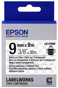 Epson Label Cartridge Strong Adhesive LK-4TBW Black/Transparent 12mm (9m)