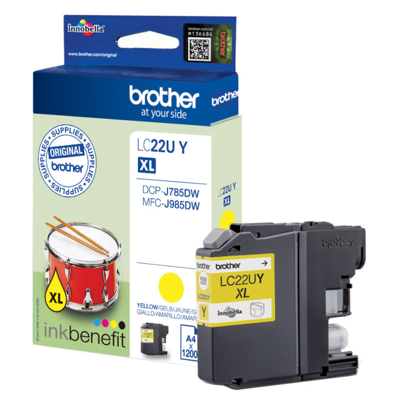 Brother LC22UY Original Ink Cartridge - Yellow - Inkjet - 1200 Pages