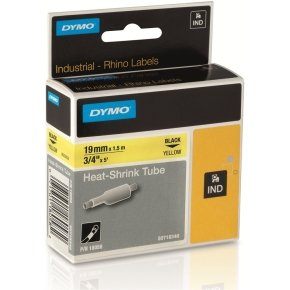 Dymo Heat-Shrink Tube - 19mm - Black on Yellow