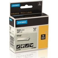 Dymo Rhino Vinyl Tape - 9mmx5.5m - Black on White