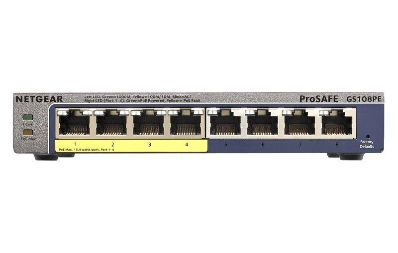 NETGEAR ProSAFE 8 Port Gigabit POE Plus Switch
