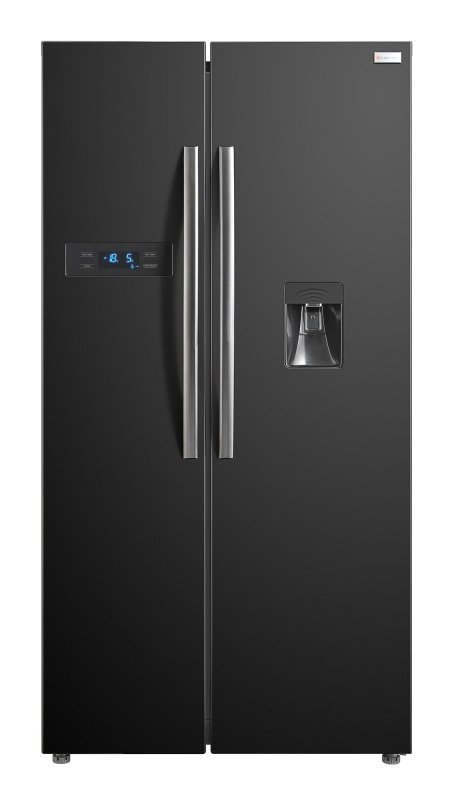 Russell Hobbs RH90FF176B-WD Black 90cm Wide American Style Freestanding No Frost Fridge Freezer with Water Dispenser