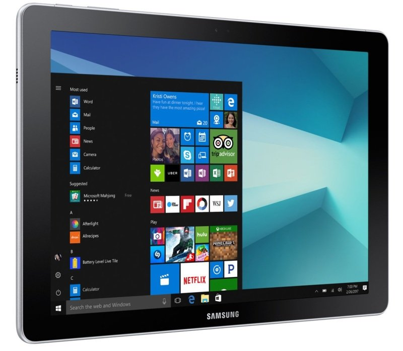 """Image of Samsung Galaxy Book 10.6 Tablet PC, Intel Core m3 7Y30 1GHz, 4GB RAM, 64GB eMMC, 10.1"""" Touch, WIFI, LTE, Windows 10 Home"""