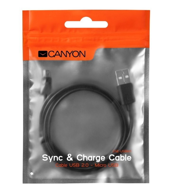 Canyon Micro USB to USB 1M Black Cable