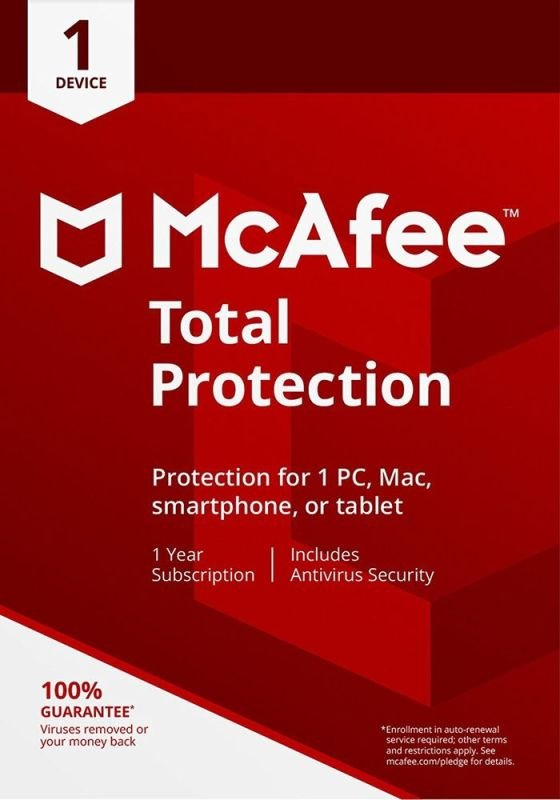 McAfee Total Protection 1 Device 1 Year Subscription