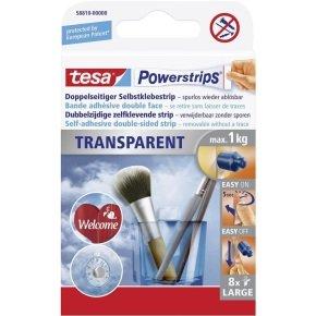 Tesa Powerstrips Clear Large PK8