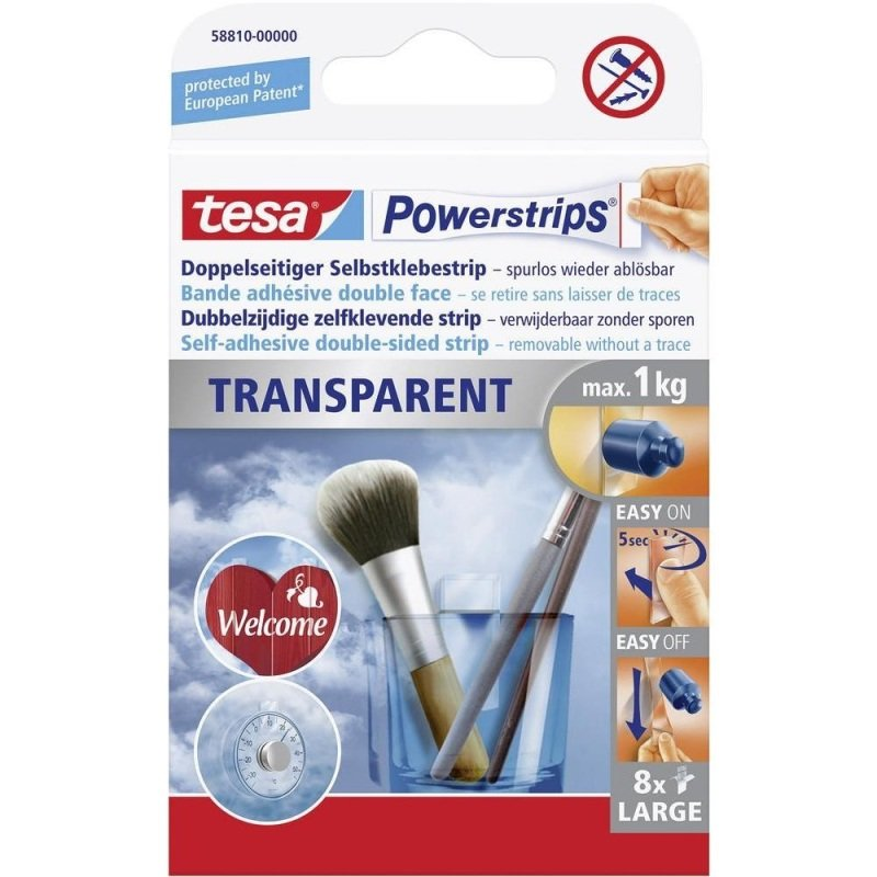 Tesa Powerstrips Clear Large PK8