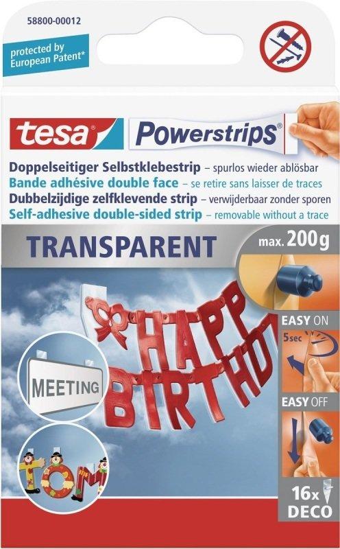 Tesa Powerstrips Clear Deco PK16