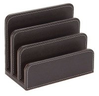 Osco Faux Leather Letter Holder Brown
