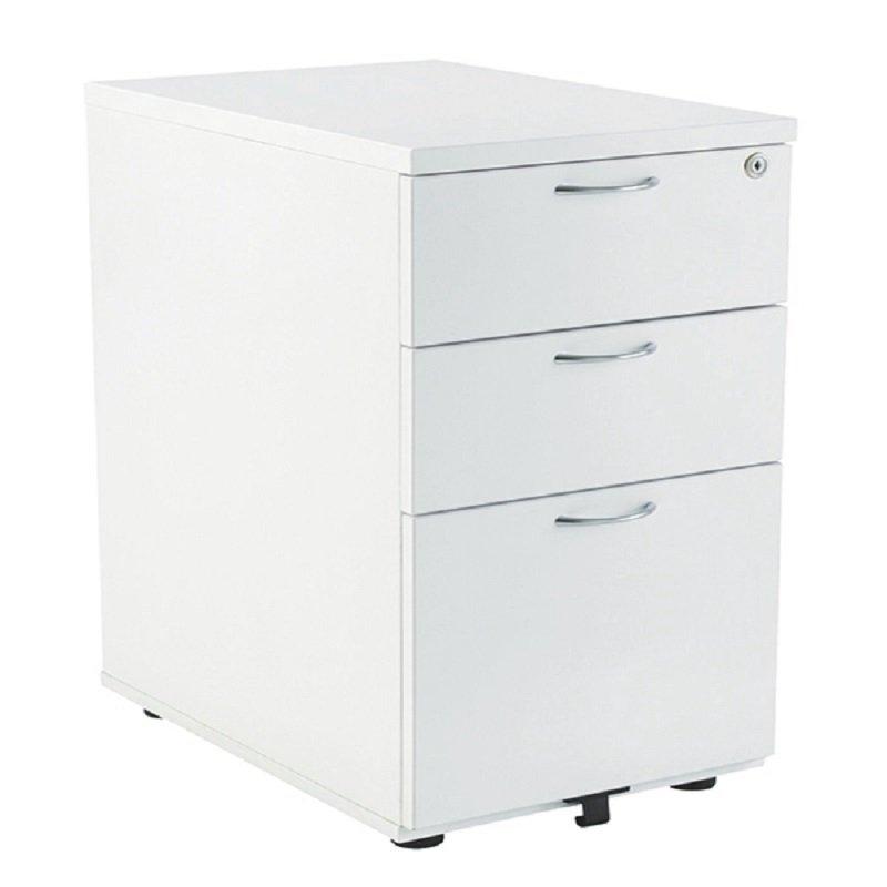 Image of Jemini 3 Drawer Mobile Pedestal White W400xD800xH730mm
