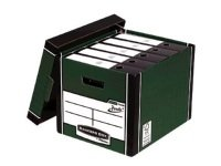 Fellowes Bankers Box Premium (A4/Foolscap) Archive Storage Box Green/White (1 x Pack of 10 Storage Boxes)