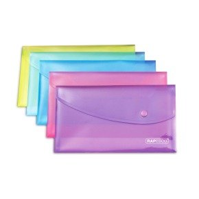Rapesco A5 Assorted Popper Wallets Pack of 5