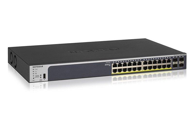 Netgear 24-Port Gigabit PoE+ Smart Managed Pro Switch with 4 SFP Ports