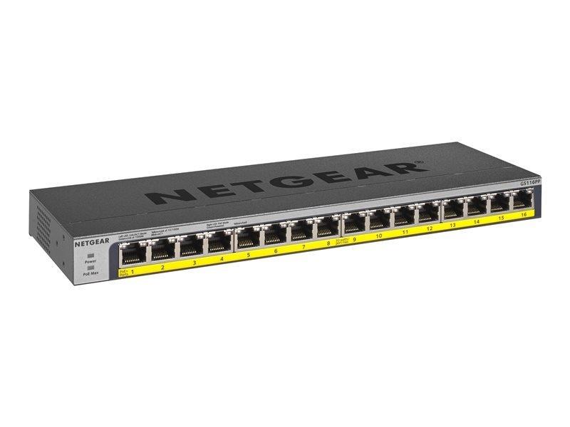Netgear 16-Port PoE/PoE+ 183W Gigabit Ethernet  Unmanaged Switch