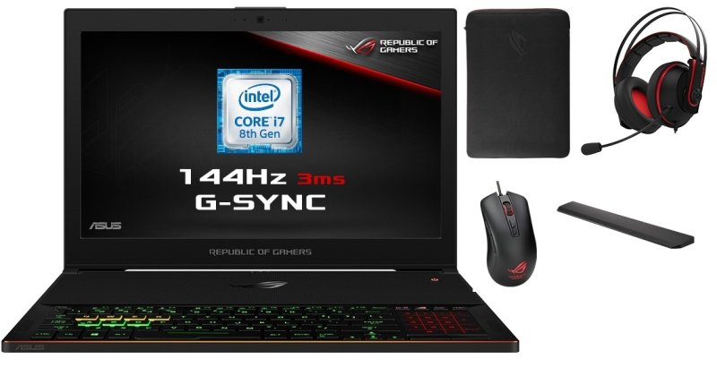 "ASUS ROG Zephyrus GX501GI 1080 Gaming Laptop, Intel Core i7-8750H 2.2GHz, 8GB DDR4, 1TB HDD, 15.6"" Full HD, No-DVD, NVIDIA GTX1080 8GB, WIFI, Bluetooth, Windows 10 Home 64bit"