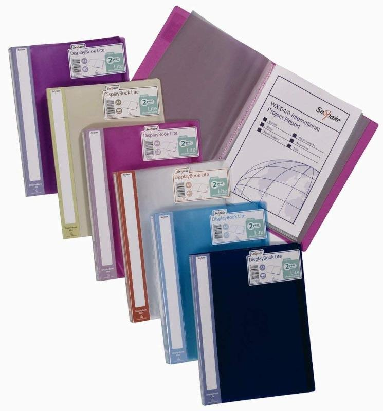 Snopake Lite Display Book 40 Pocket A4 Assorted (Pack of 12)