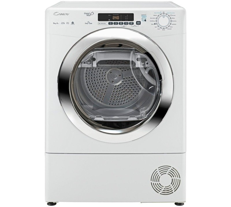Candy GVS H9A2DCE Freestanding 9kg Heat Pump Condenser Tumble Dryer White with Chrome Door