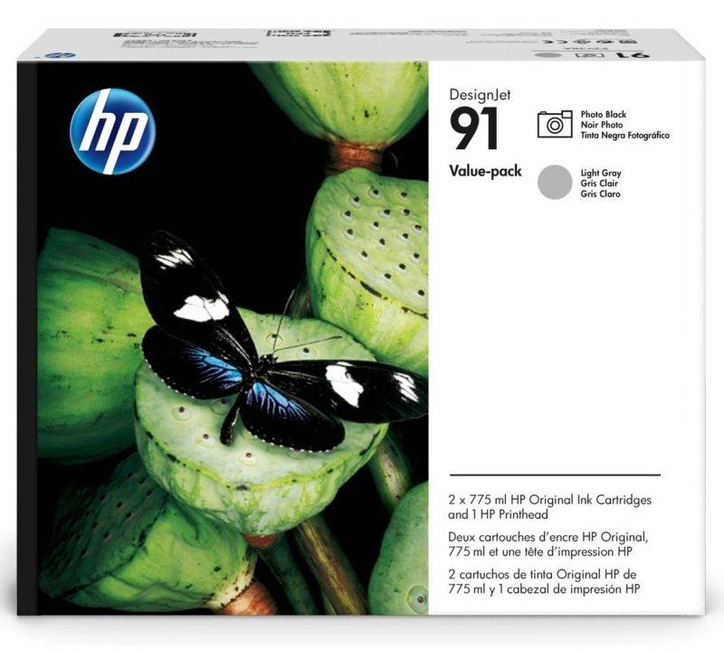 HP 91 Black & Gray Value Pack Ink Cartridge & Printhead - Standard Yield775ml - P2V38A