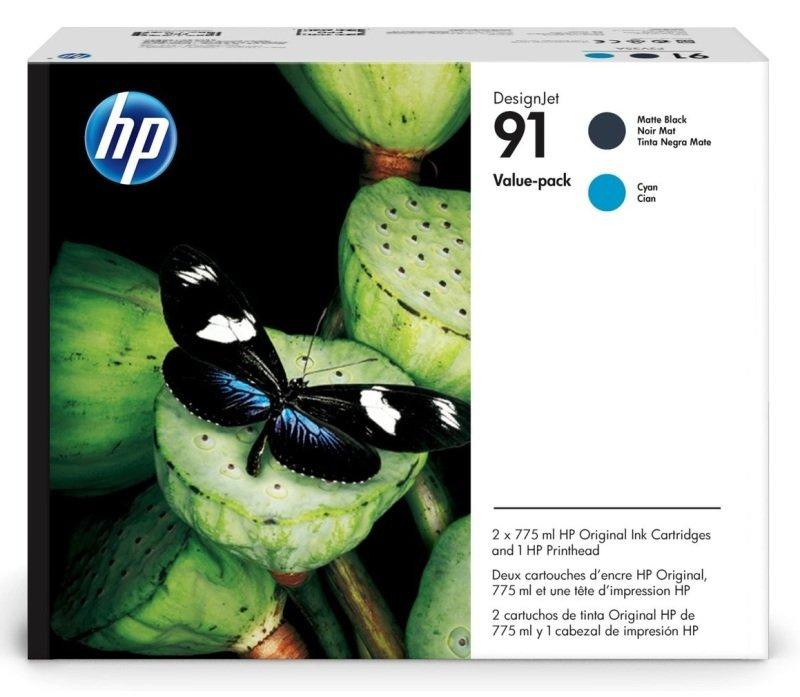 HP 91 Cyan & Matte Black Value Pack Ink Cartridge & Printhead - Standard Yield 775ml - P2V35A
